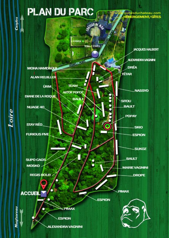 plan du street art parc du Chateau de Moh